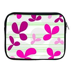 Magenta floral pattern Apple iPad 2/3/4 Zipper Cases