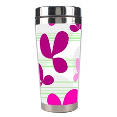 Magenta floral pattern Stainless Steel Travel Tumblers