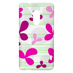 Magenta floral pattern HTC One Max (T6) Hardshell Case
