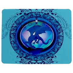 The Blue Dragpn On A Round Button With Floral Elements Jigsaw Puzzle Photo Stand (Rectangular)