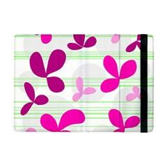 Magenta floral pattern iPad Mini 2 Flip Cases