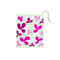 Magenta floral pattern Drawstring Pouches (Small)