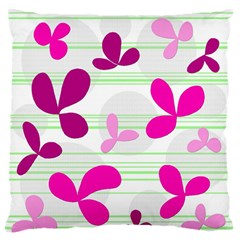 Magenta floral pattern Large Flano Cushion Case (One Side)