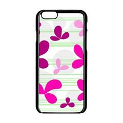 Magenta floral pattern Apple iPhone 6/6S Black Enamel Case