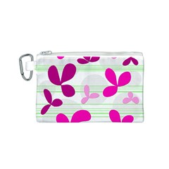 Magenta floral pattern Canvas Cosmetic Bag (S)