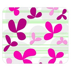 Magenta floral pattern Double Sided Flano Blanket (Small)
