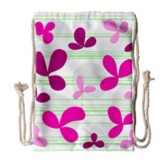 Magenta floral pattern Drawstring Bag (Large)