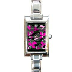 Magenta floral design Rectangle Italian Charm Watch