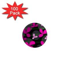 Magenta floral design 1  Mini Magnets (100 pack)