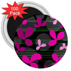 Magenta floral design 3  Magnets (100 pack)