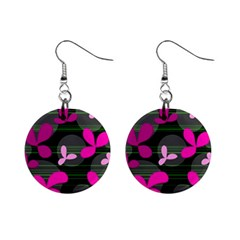 Magenta floral design Mini Button Earrings