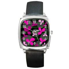 Magenta floral design Square Metal Watch