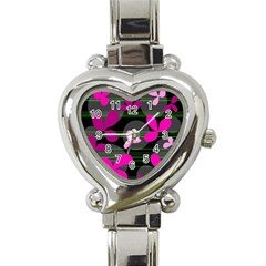 Magenta floral design Heart Italian Charm Watch