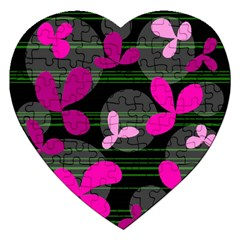 Magenta floral design Jigsaw Puzzle (Heart)
