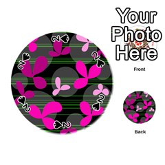 Magenta floral design Playing Cards 54 (Round)