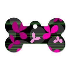 Magenta floral design Dog Tag Bone (One Side)