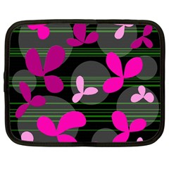 Magenta floral design Netbook Case (Large)