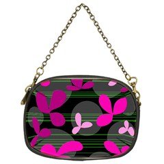 Magenta floral design Chain Purses (One Side)