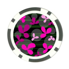 Magenta floral design Poker Chip Card Guards (10 pack)
