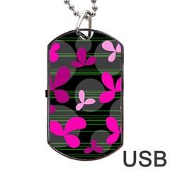Magenta floral design Dog Tag USB Flash (Two Sides)