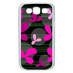 Magenta floral design Samsung Galaxy S III Case (White)