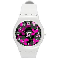 Magenta floral design Round Plastic Sport Watch (M)