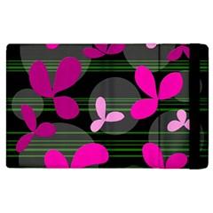 Magenta floral design Apple iPad 2 Flip Case