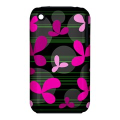 Magenta floral design Apple iPhone 3G/3GS Hardshell Case (PC+Silicone)