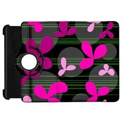 Magenta floral design Kindle Fire HD Flip 360 Case