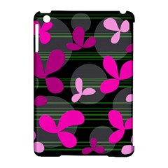 Magenta floral design Apple iPad Mini Hardshell Case (Compatible with Smart Cover)