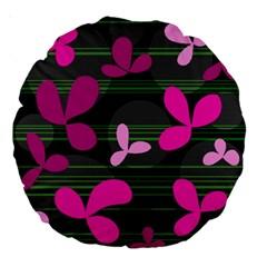 Magenta floral design Large 18  Premium Round Cushions