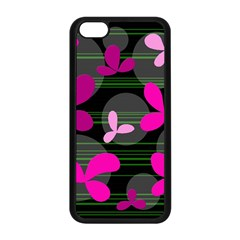 Magenta floral design Apple iPhone 5C Seamless Case (Black)