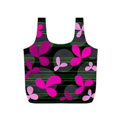 Magenta floral design Full Print Recycle Bags (S)