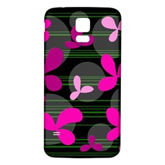 Magenta floral design Samsung Galaxy S5 Back Case (White)