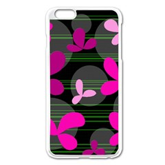 Magenta floral design Apple iPhone 6 Plus/6S Plus Enamel White Case