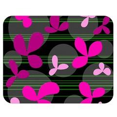 Magenta floral design Double Sided Flano Blanket (Medium)