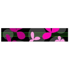 Magenta floral design Flano Scarf (Small)