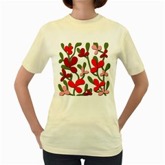 Floral tree Women s Yellow T-Shirt