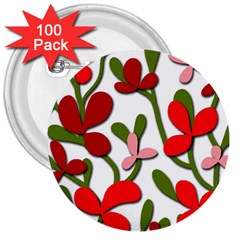 Floral tree 3  Buttons (100 pack)