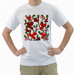 Floral tree Men s T-Shirt (White) (Two Sided)