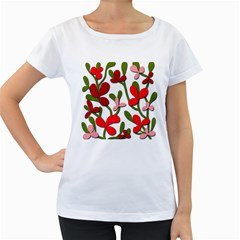 Floral tree Women s Loose-Fit T-Shirt (White)
