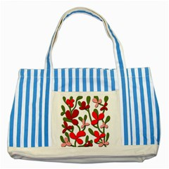Floral tree Striped Blue Tote Bag
