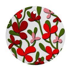 Floral tree Round Ornament (Two Sides)