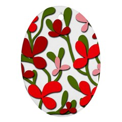 Floral tree Oval Ornament (Two Sides)