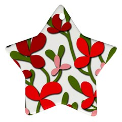 Floral tree Star Ornament (Two Sides)