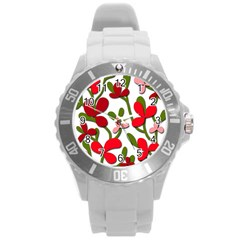 Floral tree Round Plastic Sport Watch (L)