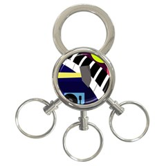 Hard 3-Ring Key Chains