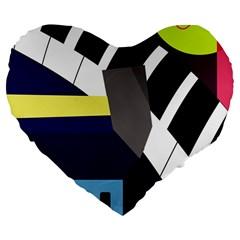 Hard Large 19  Premium Flano Heart Shape Cushions