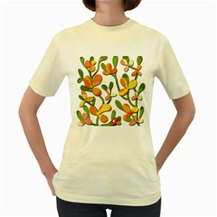 Decorative floral tree Women s Yellow T-Shirt
