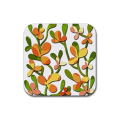 Decorative floral tree Rubber Square Coaster (4 pack)